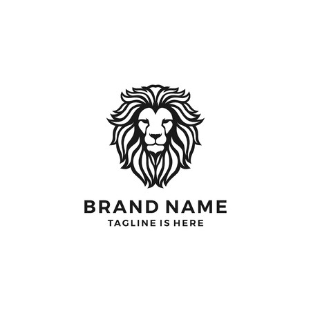Illustration for lion head logo template vector icon - Royalty Free Image
