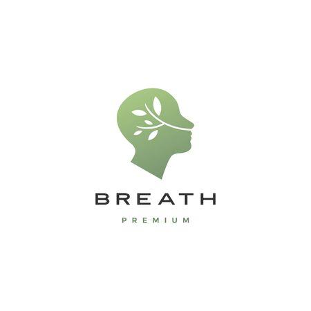 Illustration pour human head breath leaf nature natural air logo vector icon illustration - image libre de droit