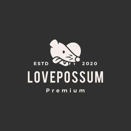 Illustration pour love possum hipster vintage logo vector icon illustration - image libre de droit