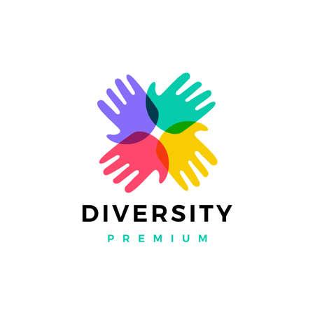 Illustration for hand diversity team community logo vector icon illustration - Royalty Free Image
