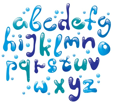 Cute glossy blue water alphabet