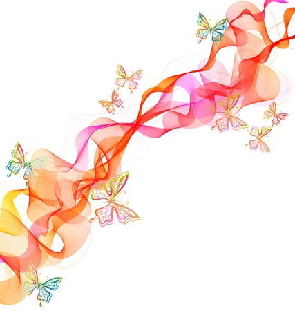 Beautiful abstract illustration with butterfly over white