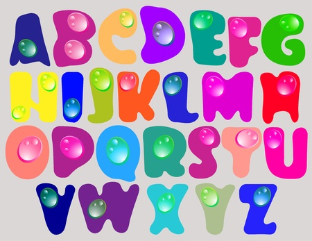 Abstract ABC,color alphabet with color drops, beautiful illustration