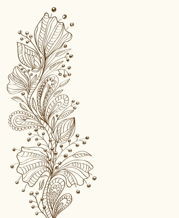 Stylish floral background, hand drawn flowers, illustration