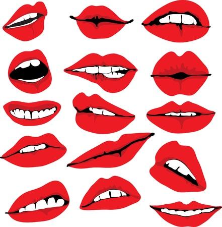 Set of different lips, illustration