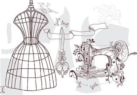 Vintage set - fashion and sewing, illustration