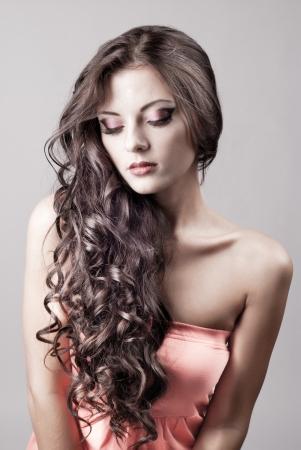 Photo pour Bright purple eye evening make-up, beautiful woman portrait, Eyeshadows and lip stick - image libre de droit
