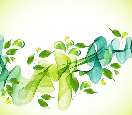 Illustration pour Abstract green natural  background with wave, illustration - image libre de droit