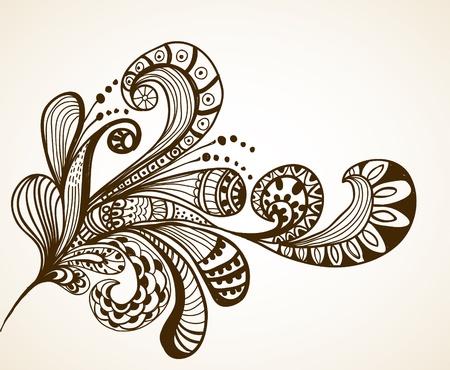 Romantic hand drawn floral background illustration design