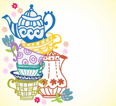 tea cup background with teapot, illustration for design