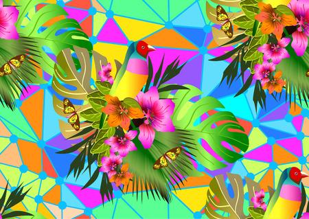 Illustration pour Color tropical flowers and leaves seamless background, bright vibrant kaleidoscope illustration - image libre de droit