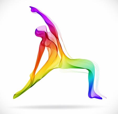 Illustration pour Yoga pose, Abstract color illustration over white background - image libre de droit