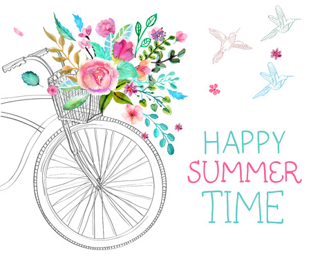 Watercolor flowers and bicycle over white for beautiful design