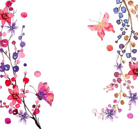 Illustration pour Watercolor flowers background for beautiful design - image libre de droit
