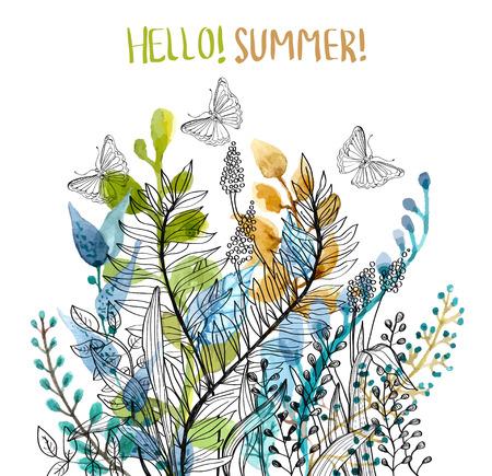 Illustration pour Watercolor floral frame, beautiful natural illustration - image libre de droit