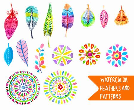 Illustration pour Watercolor feather and pattern collection over white - image libre de droit