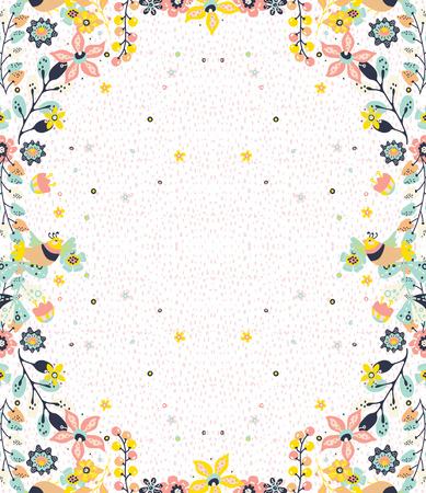 Ilustración de Colorful natural frame background with flowers and birds,  pattern for design - Imagen libre de derechos