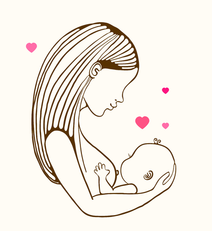 Illustration pour Mother breast feeding and cute baby, linear illustration - image libre de droit