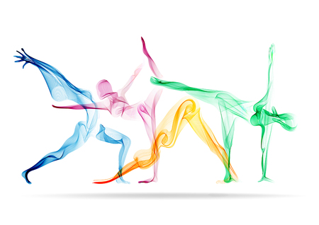 Photo for Abstract woman's silhouette yoga pose - Royalty Free Image