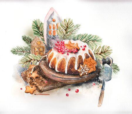 Foto de Christmas watercolor still life with sweets - Imagen libre de derechos