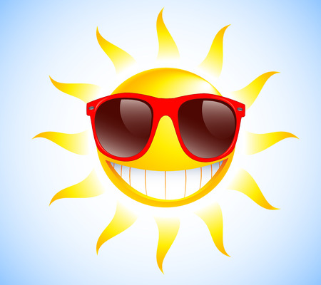 Illustration for Funny sun with sunglasses  Vector illustration background  - Royalty Free Image