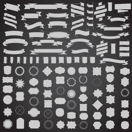 Photo pour set of ribbons and frame, badge, label. Vector templates for your design - image libre de droit
