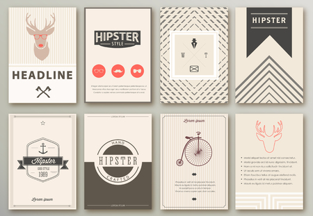 Illustration for Set of brochures in hipster style - Royalty Free Image