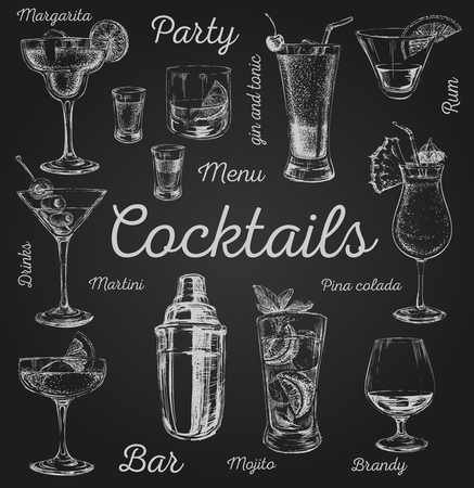 Set of sketch cocktails and alcohol drinks vector hand drawn illustration Set of sketch cocktails and alcohol drinks vector hand drawn illustration