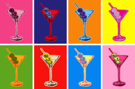 Illustration pour Set of Colored Martini Cocktails with Olives Vector Illustration Set of Colored Martini Cocktails with Olives Vector Illustration - image libre de droit