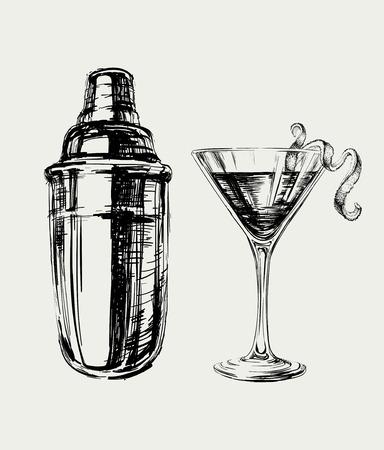 Sketch Cosmopolitan Cocktails and Shaker