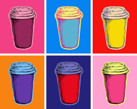 Illustration pour Set Coffee Cup Vector Illustration Pop Art Style - image libre de droit
