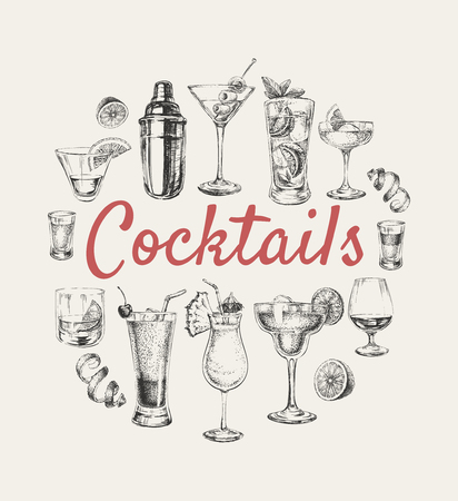 Illustration pour Set of sketch cocktails and alcohol drinks vector hand drawn illustration Set of sketch cocktails and alcohol drinks vector hand drawn illustration - image libre de droit