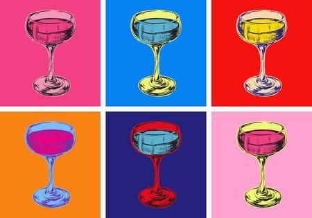 Ilustración de Champagne Glass Hand Drawing Vector Illustration Alcoholic Drink. Pop Art Style. - Imagen libre de derechos