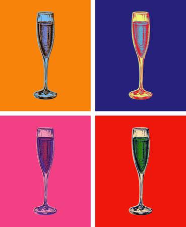 Illustration pour Champagne Glass Hand Drawing Vector Illustration Bubbles. Alcoholic Drink. - image libre de droit