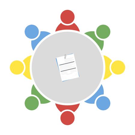 Illustration pour Business meeting, discussion. Teamwork activity. People around the table. Vector illustration - image libre de droit