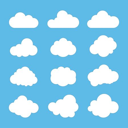 Illustration pour Cloud signs, Sky symbols. Blue background. Vector illustration - image libre de droit