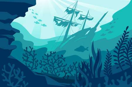Illustration for Sea underwater background. Deep ocean bottom with seaweeds, sunken ship, coral and fishes silhouettes. Undersea diving quiet seascape vector panorama. Wild fauna life with wrecked vessel - Royalty Free Image