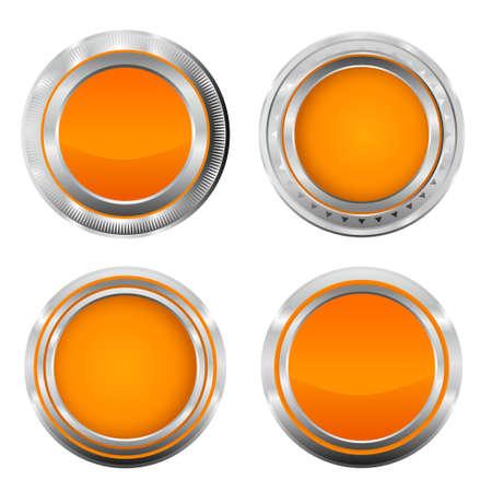 Illustration pour Realistic metallic orange badge buttons. Vector metallic button illustration from button series. - image libre de droit