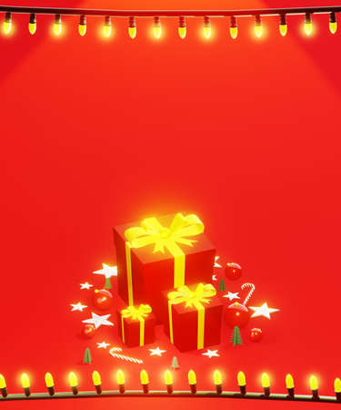 Photo pour Christmas presents with string lights frame. Holidays background. Red tones, with space for text, vertical composition. 3D rendering. - image libre de droit