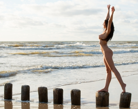 Young Fully Nude Woman Posing On The Beach Royalty Free Images
