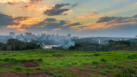 View of the Friendship Bridge (Ponte da Amizade), which connects Foz do Iguacu in Brazil with Ciudad del Este in Paraguay.