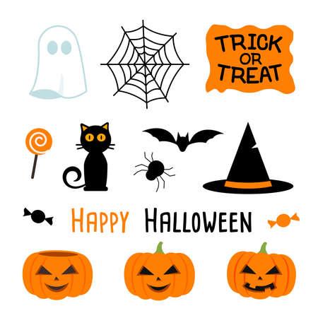 Illustration pour vector illustration of halloween party set - image libre de droit