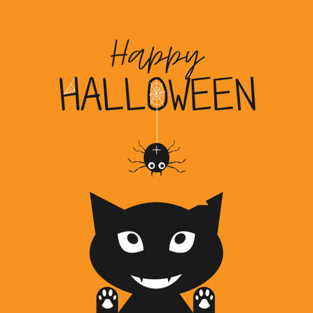 Illustration pour Happy Halloween. Black cat face head silhouette looking up to hanging on dash line web spider insect. Cute cartoon character. Baby pet animal collection. Flat design Orange background. Vector - image libre de droit