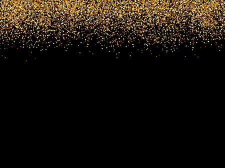 Ilustración de abstract gold glittering stars black background.golden glitter texture. - Imagen libre de derechos