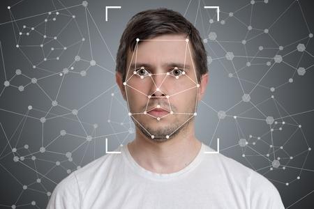 Photo pour Face detection and recognition of man. Computer vision and artificial intelligence concept. - image libre de droit