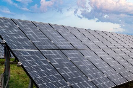 Photo for Close-up view on photovoltaic solar panels in power plant. - Royalty Free Image