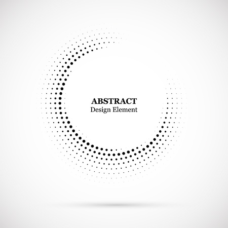 Illustration pour Halftone dotted background circularly distributed. Halftone effect vector pattern. Circle dots isolated on the white background. - image libre de droit