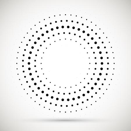 Illustration pour Black abstract vector circle frame halftone dots logo emblem design element. Rounded border icon. Isolated halftone circle dots vector texture. - image libre de droit