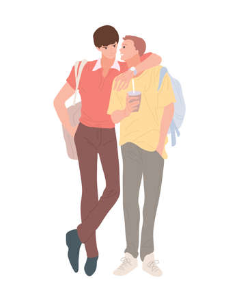 Illustration for Homosexual male couple enjoying a walk. Two men walk embracing smiling in flat style. Male hug on isolated white. Enamored young men spend time together feeling love. Vector stock illustration. - Royalty Free Image