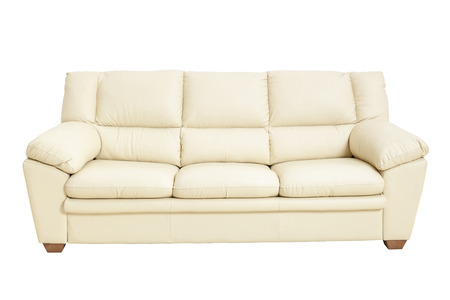 Photo pour Three seats cozy leather sofa in nice champagne color, isolated on white - Stock image with clipping path. Sofa, Leather, Decor, Furniture, Home Interior - image libre de droit
